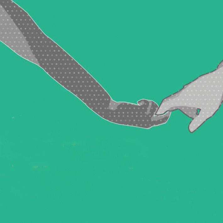 Держаться за руки, когда один держит другого за пальцы