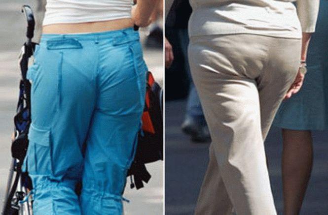 у женщины девчонки видно трусы из под штаны фото