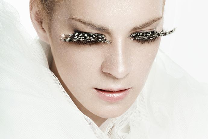 Beauty portrait, false eyelashes
