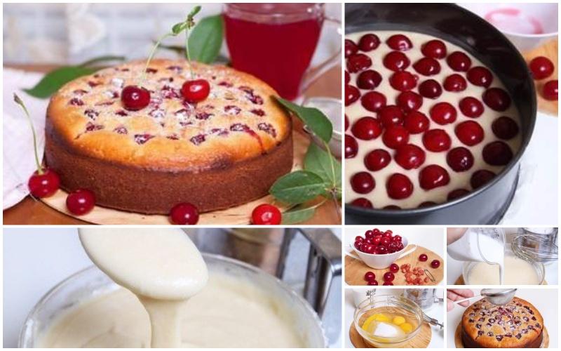 Рецепт пирога с вишней идеально подойдет для перекуса. Именно пирог с вишней и чашечка кофе – идеальное решение проблемы голода.А все потому, что тесто на кефире для пирога и вишня в качестве начинки делают выпечку сытной и питательной для организма